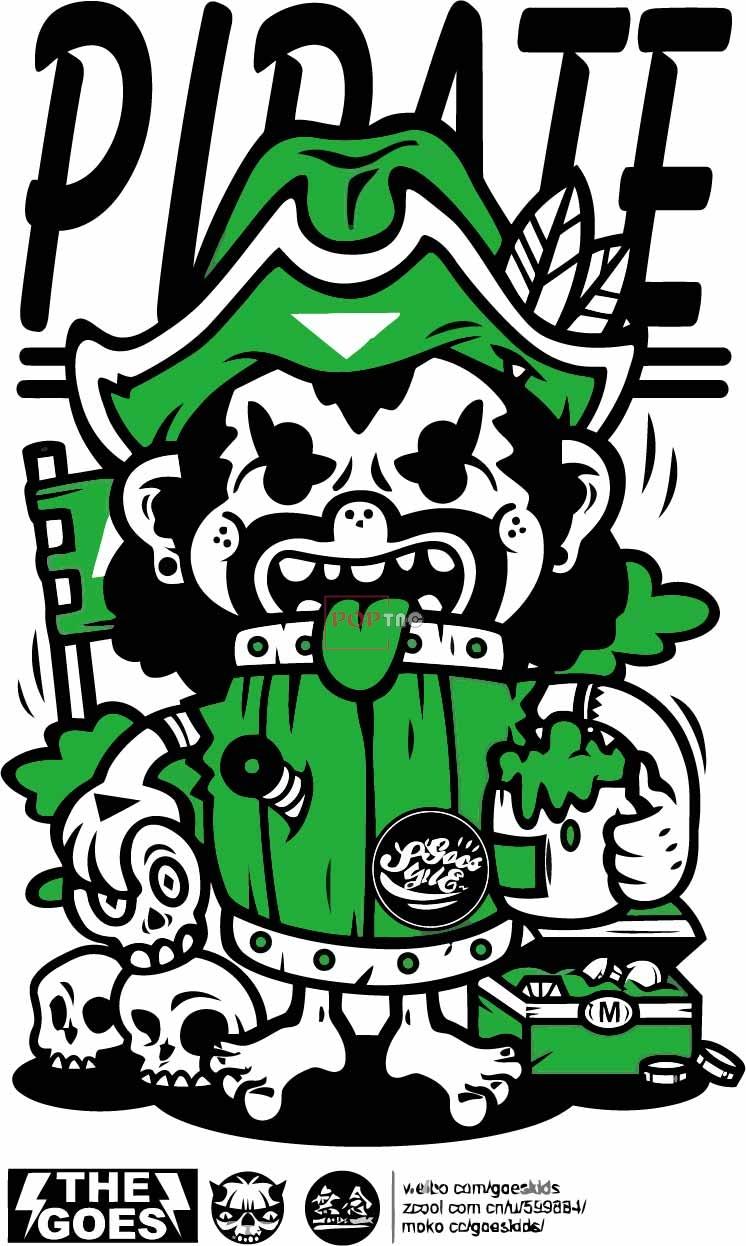 卡通动漫人物骷髅头字母嘻哈风印花图案服装裁片T恤卫衣烫图印花花型素材-POP花型网