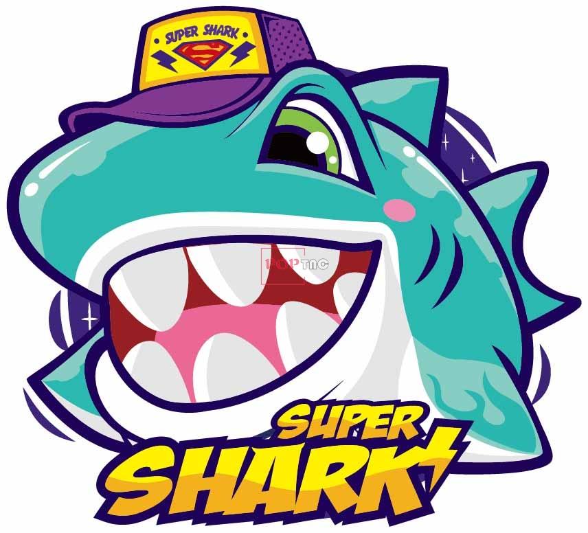 卡通动物鲨鱼字母嘻哈风印花图案服装裁片T恤卫衣烫图印花花型素材-POP花型网