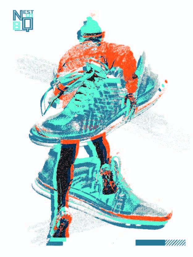 色彩涂鸦鞋子人物印花图案服装裁片T恤卫衣烫图印花花型素材-POP花型网