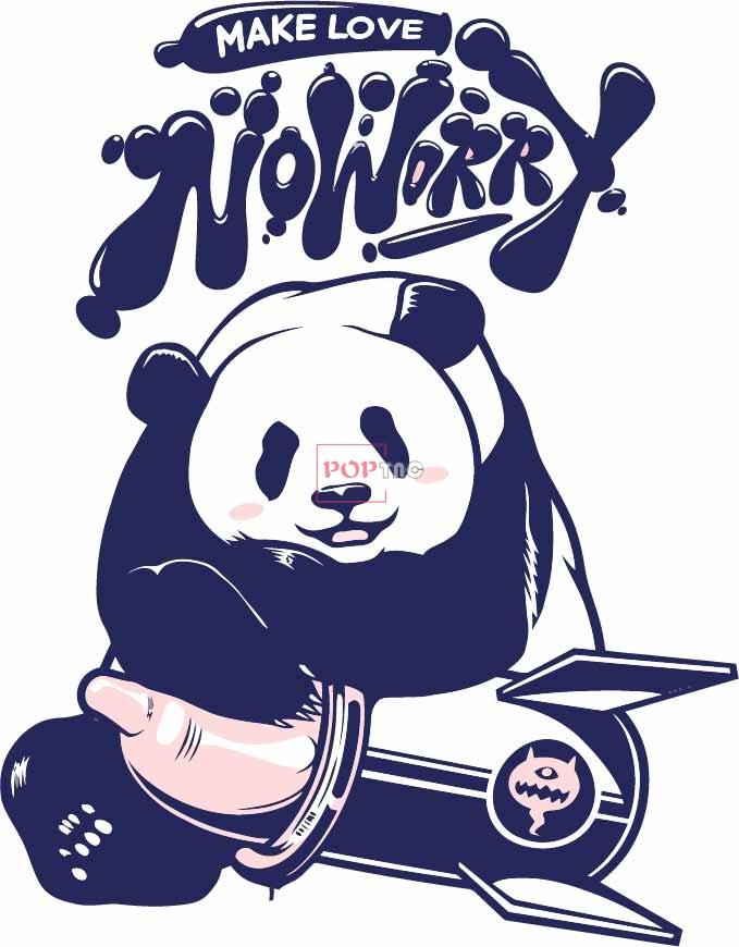 卡通动物熊猫字母印花图案服装裁片T恤卫衣烫图印花花型素材-POP花型网