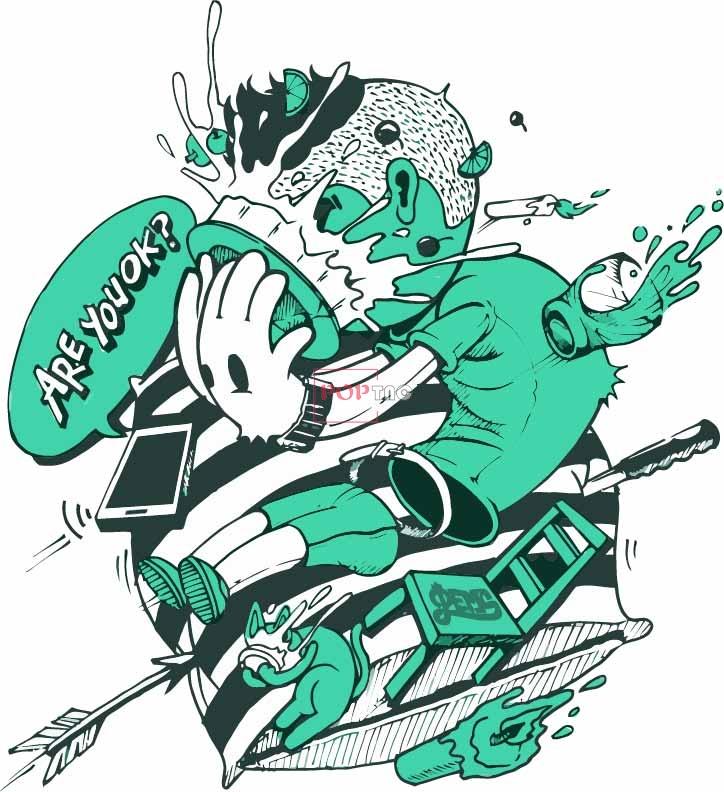 卡通动漫涂鸦嘻哈风印花图案服装裁片T恤卫衣烫图印花花型素材-POP花型网