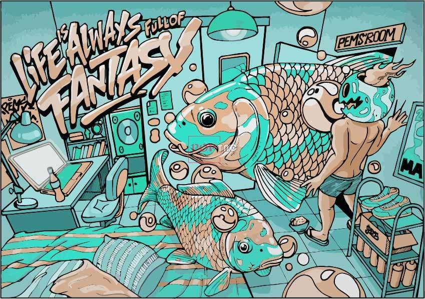 卡通动漫鲤鱼人物嘻哈风印花图案服装裁片T恤卫衣烫图印花花型素材-POP花型网
