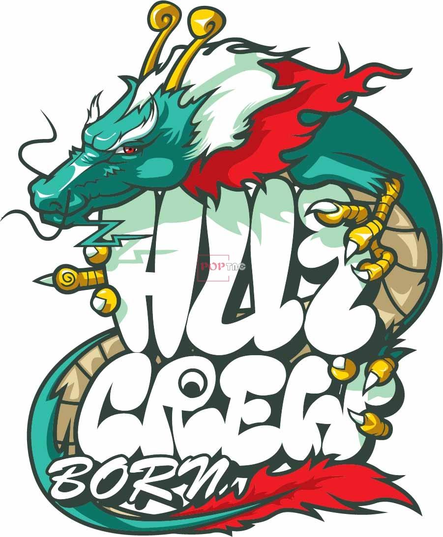 卡通动物龙字母嘻哈风印花图案服装裁片T恤卫衣烫图印花花型素材-POP花型网