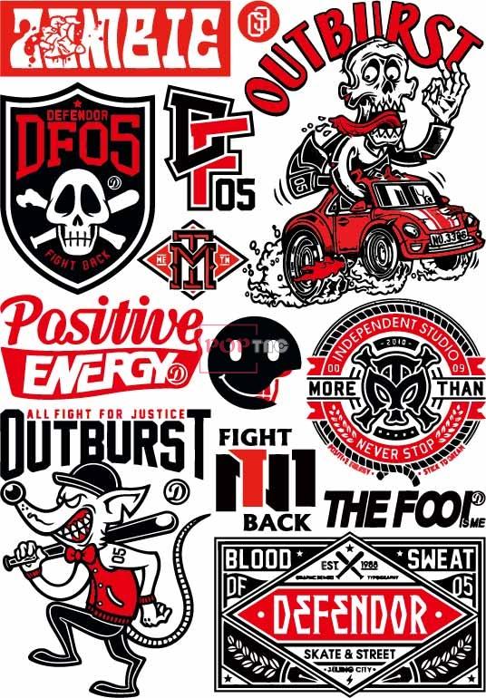 卡通人物图案字母汽车老鼠盾牌印花图案服装裁片T恤卫衣烫图印花花型素材-POP花型网