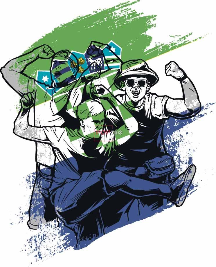 色彩涂鸦运动员人物印花图案服装裁片T恤卫衣烫图印花花型素材-POP花型网