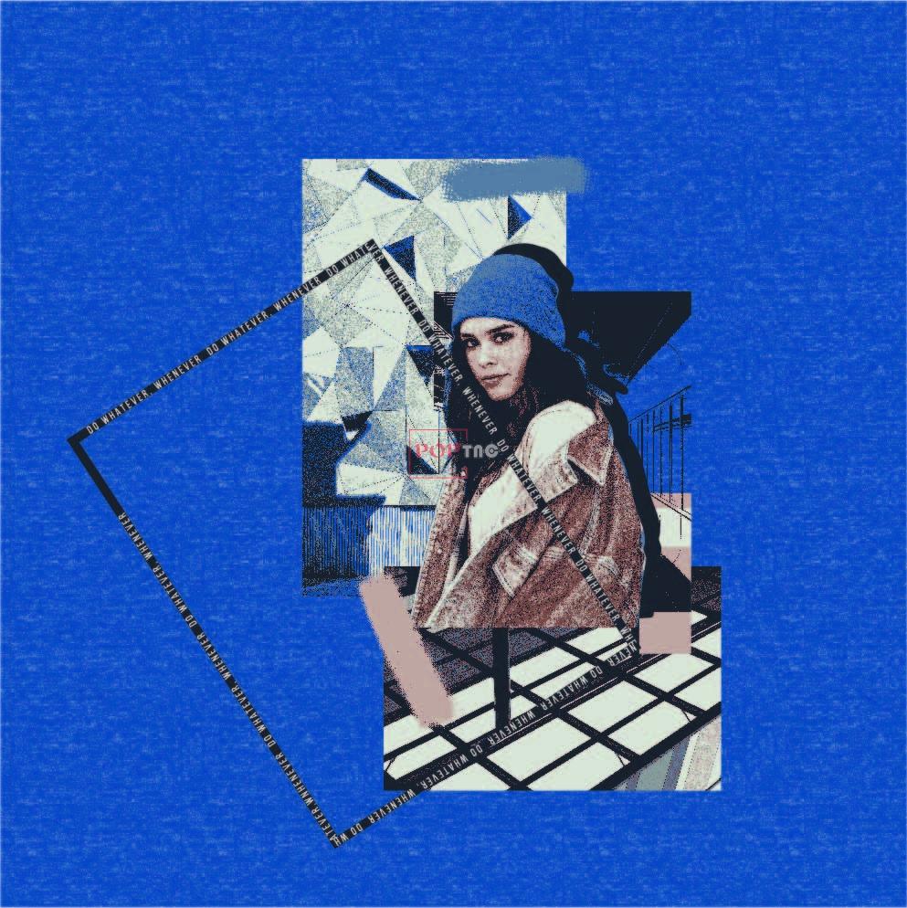 几何人物女士人物字母印花图案服装裁片T恤烫图印花花型素材-POP花型网