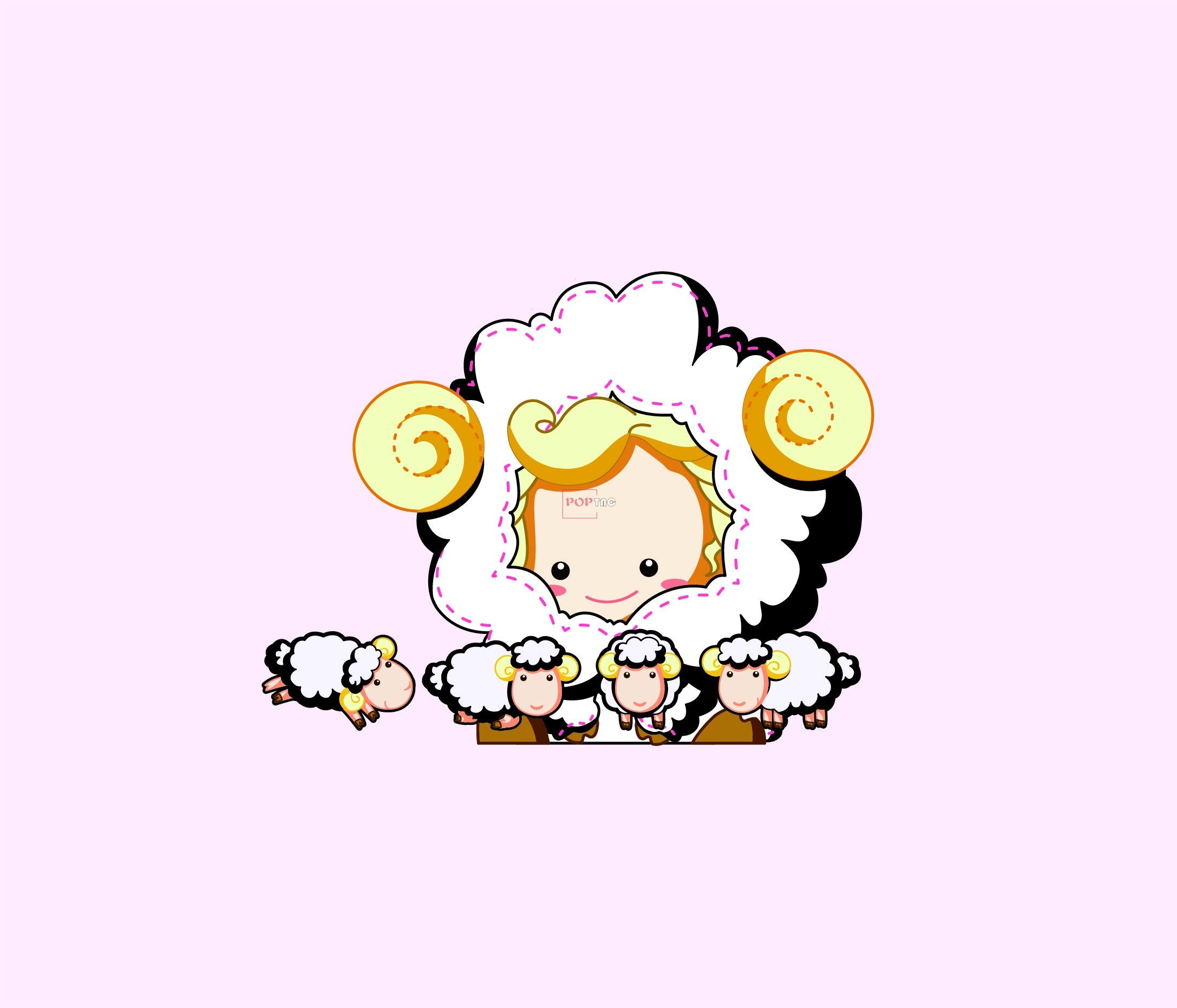 卡通动物绵羊印花图案服装裁片T恤卫衣烫图印花花型素材-POP花型网