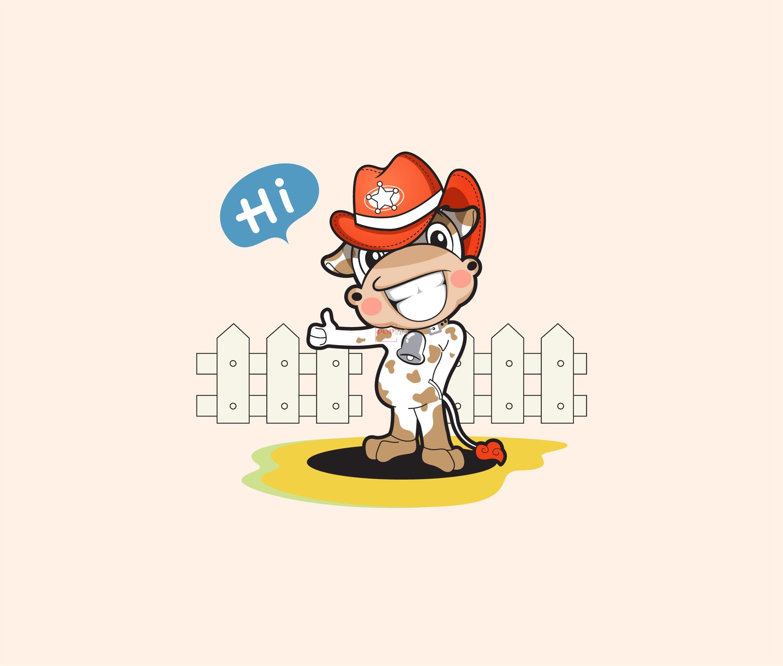 卡通动物小牛字母印花图案服装裁片T恤卫衣烫图印花花型素材-POP花型网