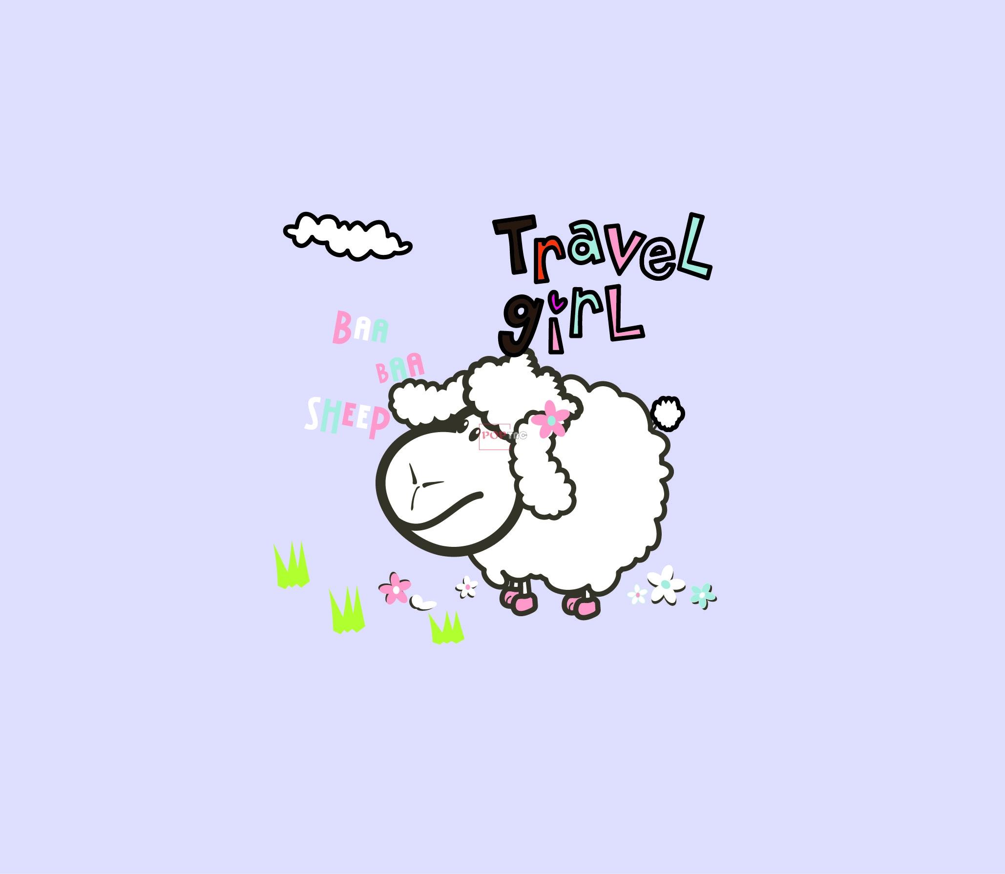 卡通动物绵羊云朵字母印花图案服装裁片T恤卫衣烫图印花花型素材-POP花型网