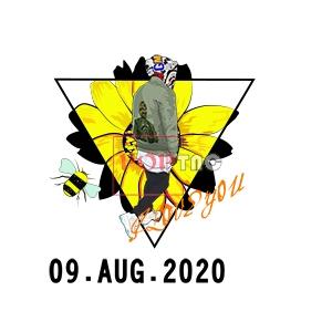 潮男人物小邹菊蜜蜂字母印花图案服装裁片T恤卫衣烫图印花花型素材-POP花型网