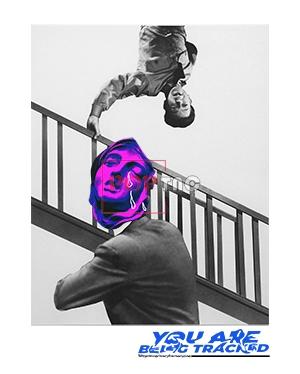 人物图案楼梯字母印花服装裁片T恤卫衣印花花型素材-POP花型网
