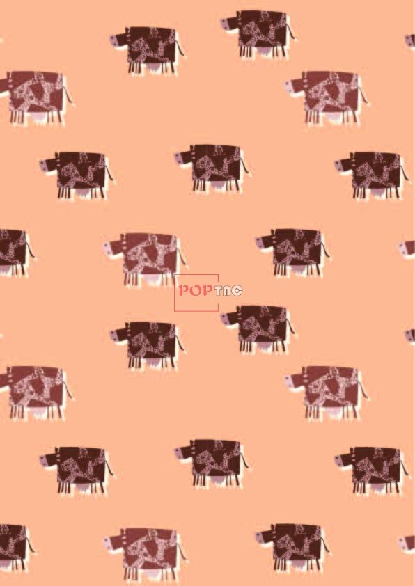 卡通动物牛印花图案服装纺织数码印花花型素材-POP花型网