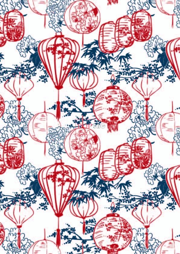 植物花纹灯笼印花图案服装纺织数码印花花型素材-POP花型网