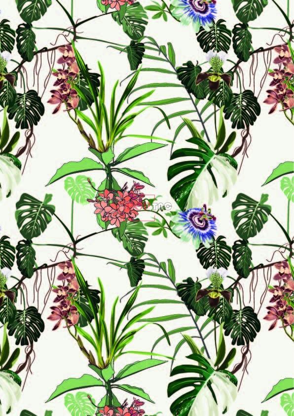 植物花纹热带风印花图案服装纺织数码印花花型素材-POP花型网