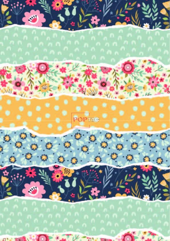植物花纹波浪印花图案服装纺织数码印花花型素材-POP花型网
