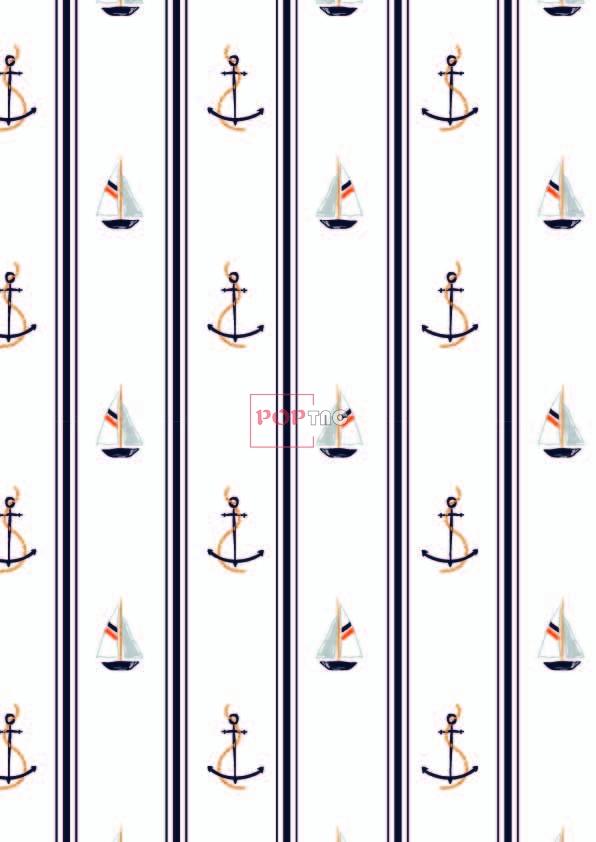 几何线条帆船船锚印花图案服装纺织数码印花花型素材-POP花型网