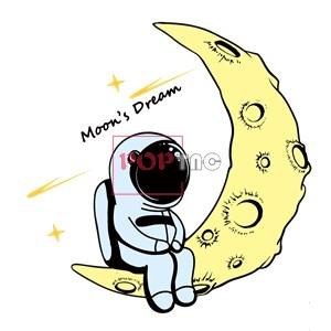 卡通动漫太空人月亮字母印花图案服装裁片T恤卫衣印花花型素材-POP花型网