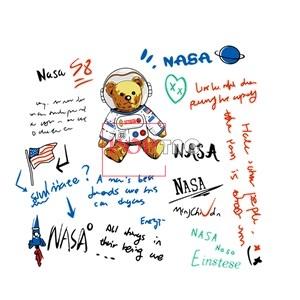 卡通潮牌熊太空人字母印花图案服装裁片T恤卫衣烫图印花花型素材-POP花型网