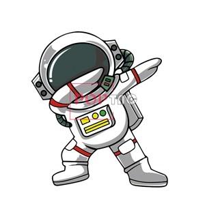 卡通太空人印花图案服装裁片T恤卫衣烫图印花花型素材-POP花型网