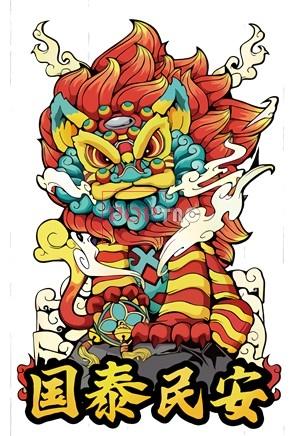 国潮民族风舞狮印花图案服装裁片T恤卫衣烫图印花花型素材-POP花型网