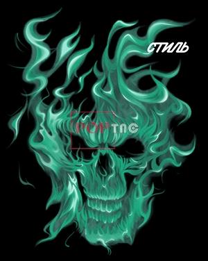 火焰骷髅头印花图案服装裁片T恤卫衣烫图印花花型素材-POP花型网