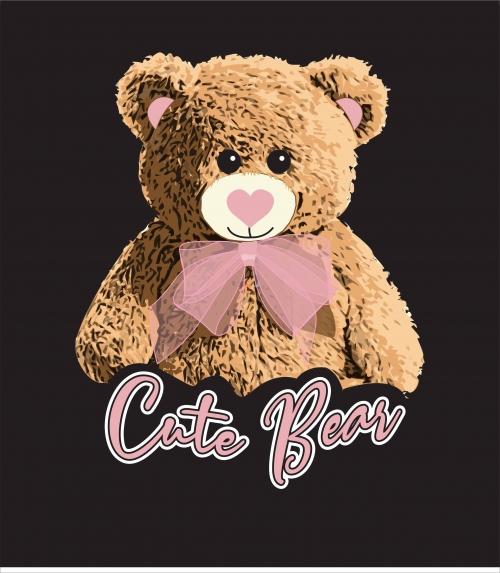 潮牌卡通熊粉色蝴蝶结字母印花图案服装裁片T恤卫衣烫图印花花型素材-POP花型网