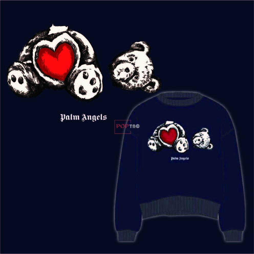 卡通动漫潮牌断头熊爱心字母印花图案服装裁片T恤卫衣烫图印花花型素材-POP花型网