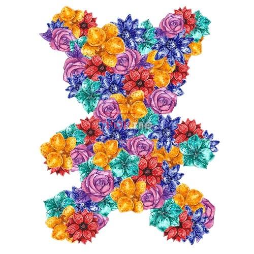植物花朵卡通熊印花图案服装裁片T恤卫衣烫图印花花型素材-POP花型网