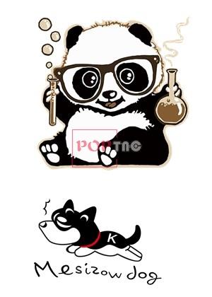 卡通熊猫字母小狗印花图案服装裁片T恤卫衣烫图印花花型素材-POP花型网