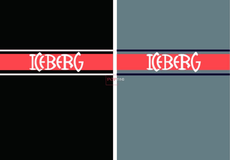 潮牌Iceberg字母撞色条纹印花图案服装裁片T恤卫衣烫图印花花型素材-POP花型网