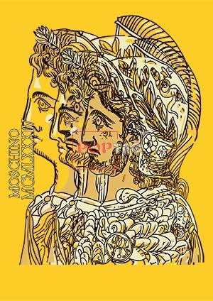 MOSCHINO古典花纹骑士印花图案服装裁片T恤卫衣烫图印花花型素材-POP花型网