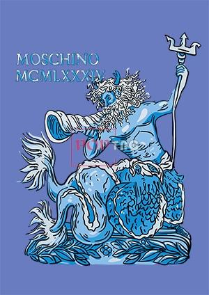MOSCHINO古典神话故事海王印花图案服装裁片T恤卫衣烫图印花花型素材-POP花型网