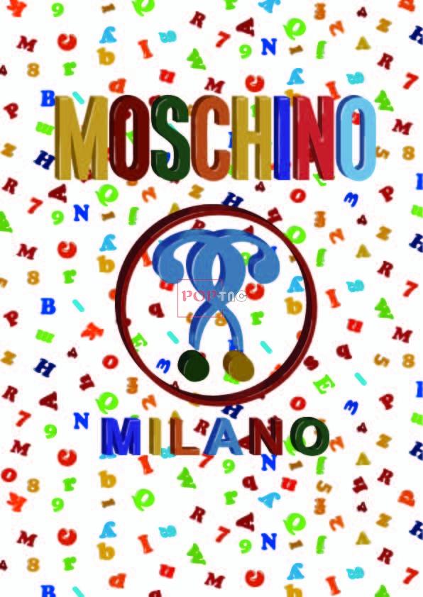 Moschino糖果色字母印花图案服装裁片T恤卫衣烫图印花花型素材-POP花型网