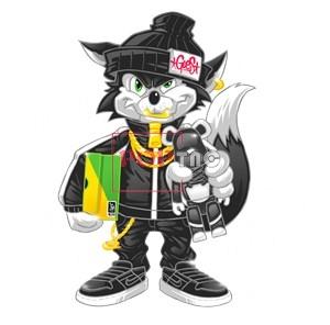 卡通潮牌暴力熊大灰狼字母印花图案服装裁片T恤卫衣烫图印花花型素材-POP花型网
