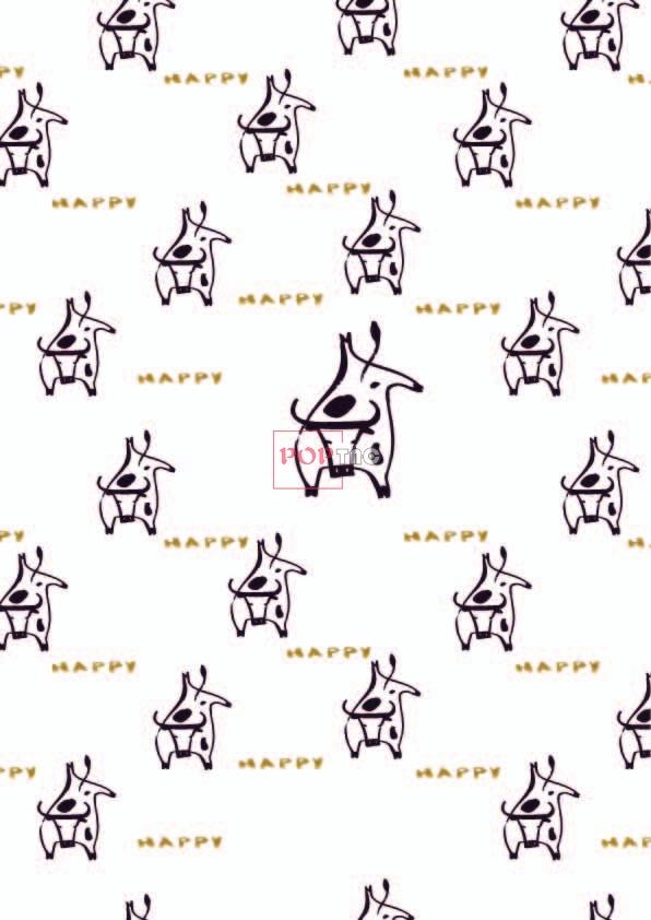 动物牛字母印花图案服装纺织数码印花花型素材-POP花型网