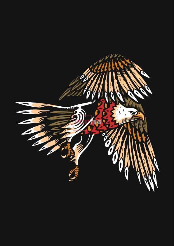 动物老鹰印花图案服装裁片T恤卫衣烫图印花花型素材-POP花型网