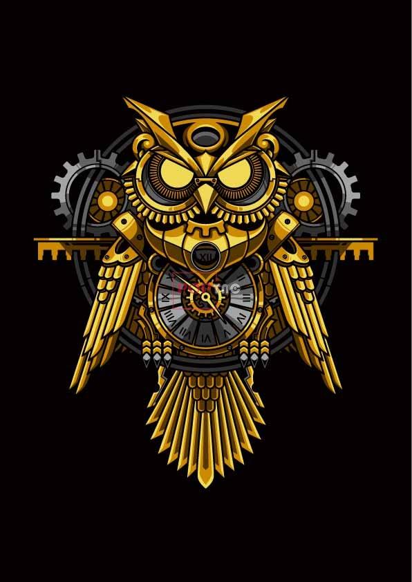机械猫头鹰印花图案服装裁片T恤卫衣烫图印花花型素材-POP花型网