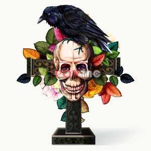 骷髅头飞鸟植物花朵印花图案服装裁片T恤卫衣烫图印花花型素材-POP花型网