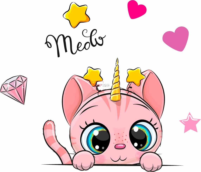 卡通动物猫咪独角兽印花图案服装裁片T恤卫衣烫图印花花型素材-POP花型网