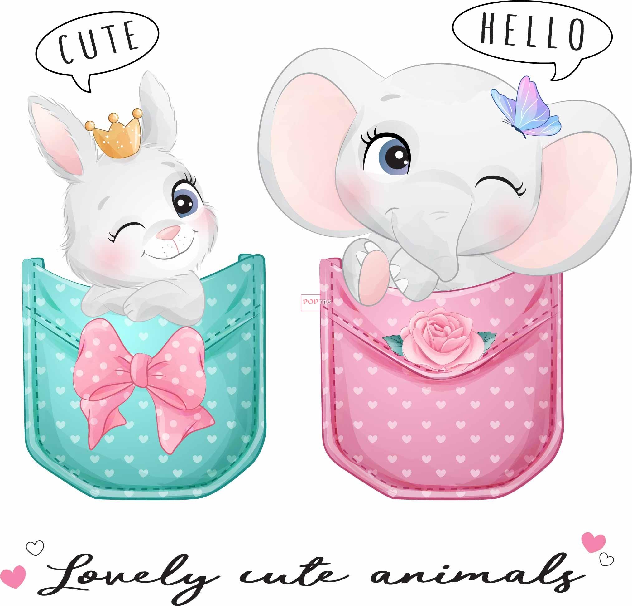 卡通动物大象兔子字母印花图案服装裁片T恤卫衣烫图印花花型素材-POP花型网
