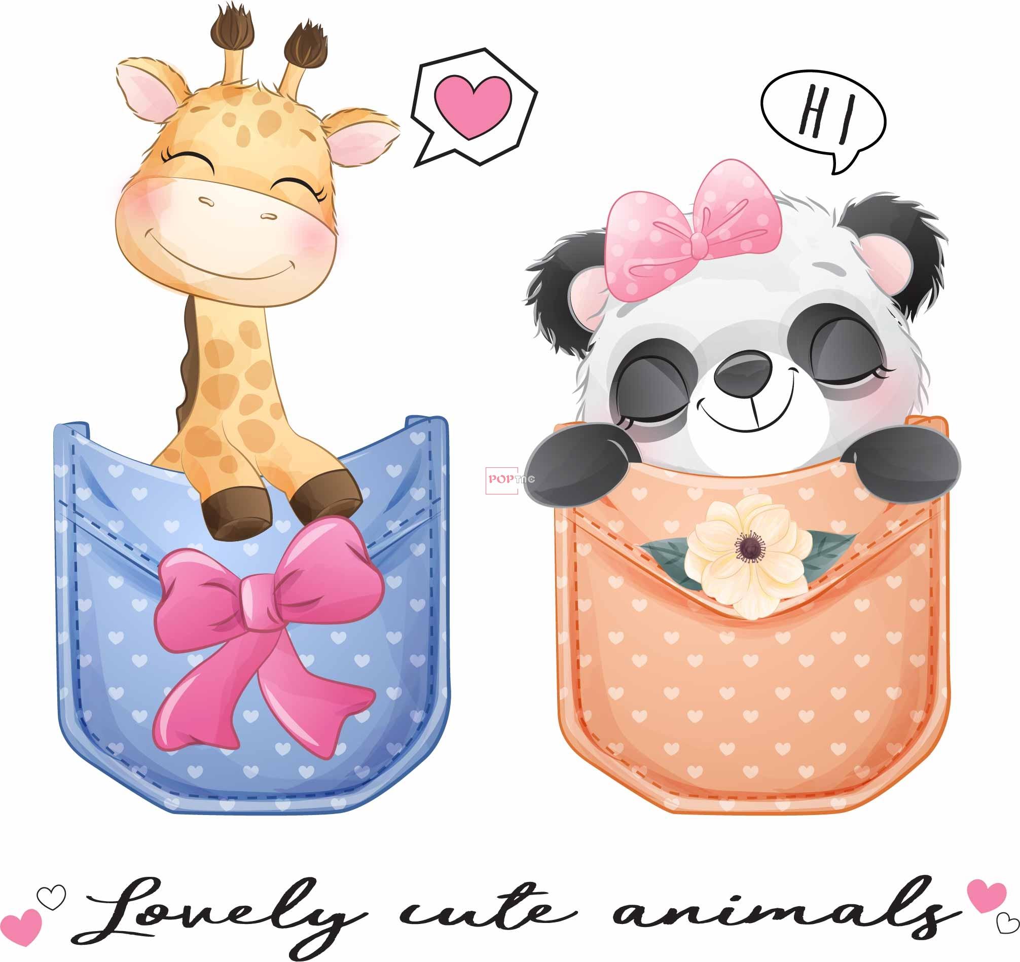 卡通动物长颈鹿熊猫印花图案服装裁片T恤卫衣烫图印花花型素材-POP花型网