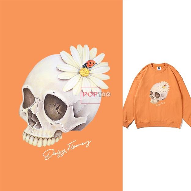 骷髅头植物小邹菊印花图案服装裁片T恤卫衣烫图印花花型素材-POP花型网