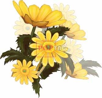 植物小邹菊印花图案服装裁片T恤卫衣烫图印花花型素材-POP花型网