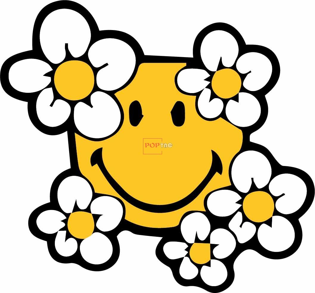植物花朵小邹菊笑脸印花图案服装裁片T恤卫衣烫图印花花型素材-POP花型网