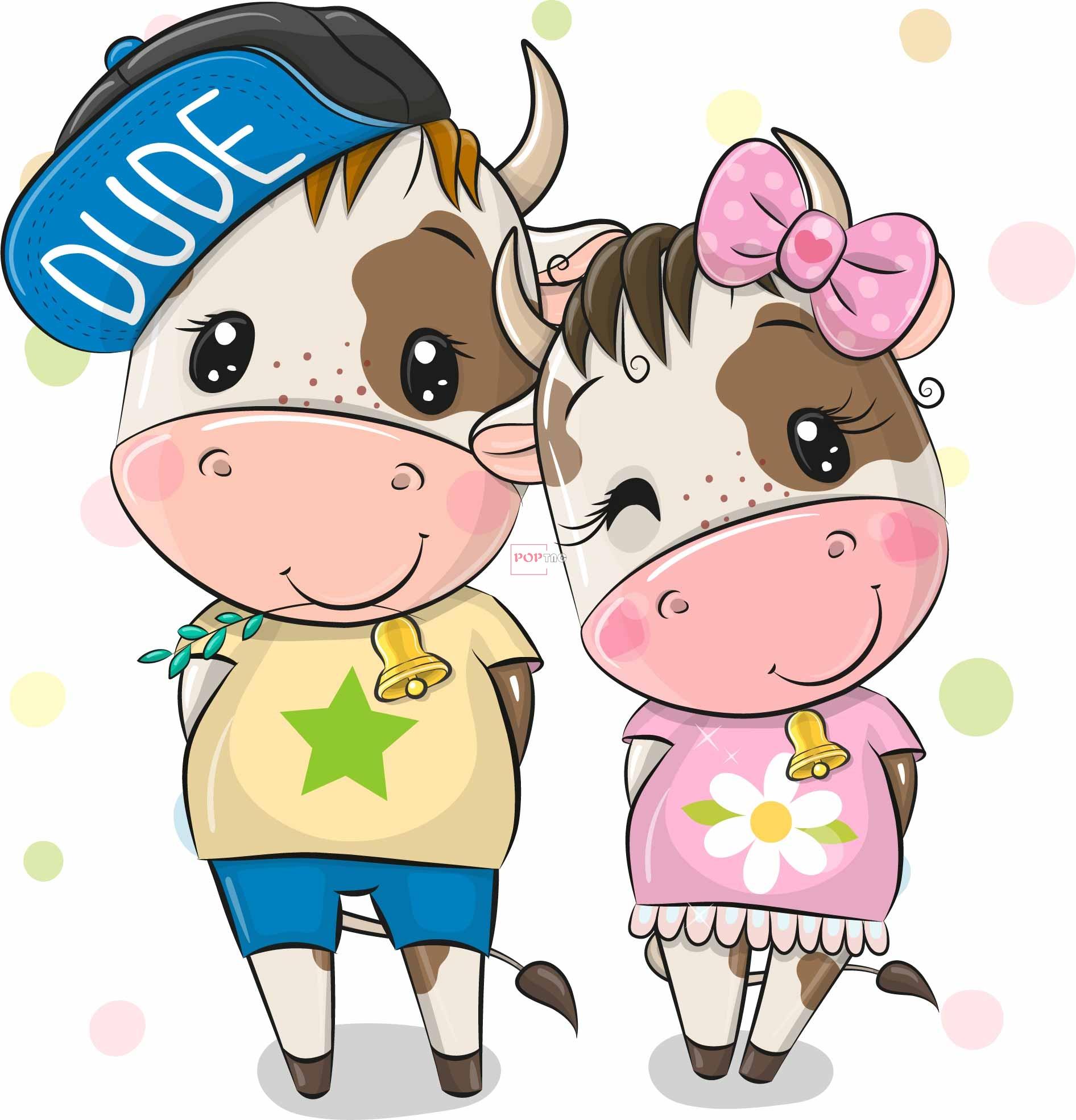 卡通动物小牛气球字母印花图案服装裁片T恤卫衣烫图印花花型素材-POP花型网