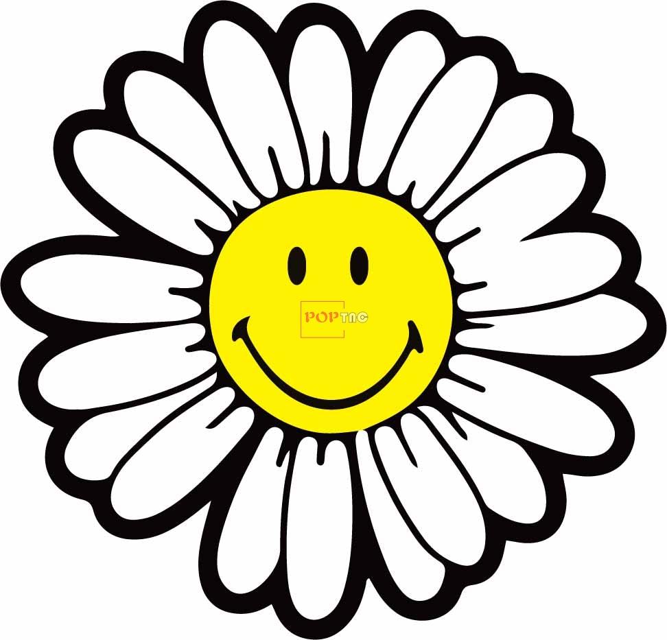笑脸小雏菊印花图案服装裁片T恤卫衣烫图印花花型素材-POP花型网