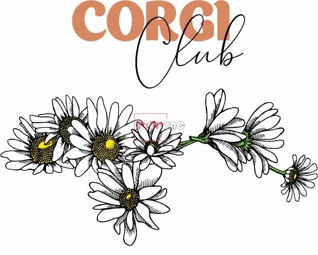 植物小雏菊字母印花图案服装裁片T恤卫衣烫图印花花型素材-POP花型网