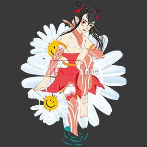 卡通人物笑脸植物小雏菊印花图案服装裁片T恤卫衣烫图印花花型素材-POP花型网