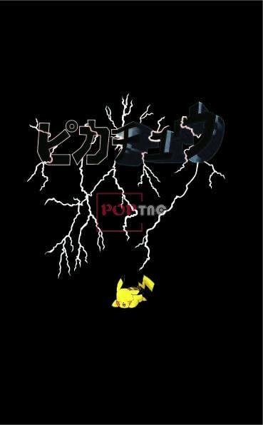 卡通动漫皮卡丘闪电字母印花图案服装裁片T恤卫衣烫图印花花型素材-POP花型网