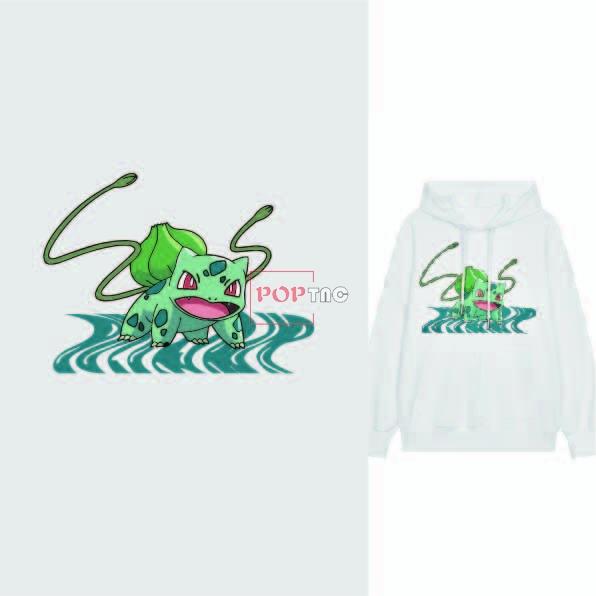 卡通动漫妙蛙人物印花图案服装裁片T恤卫衣烫图印花花型素材-POP花型网